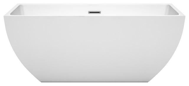 "Rachel 59"" Freestanding White Bathtub, Polished Chrome Drain And Overflow Trim."