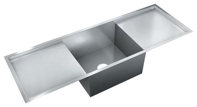 Just Single Bowl Flush Mount 18x52x10 Sink, 18 Gauge Stainless Steel.