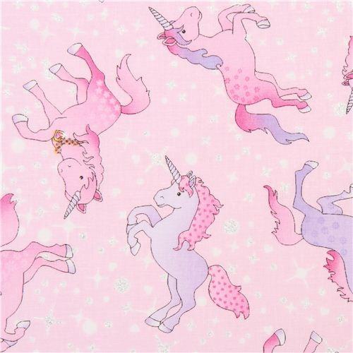 pink unicorn fabric with glitter Timeless Treasures USA