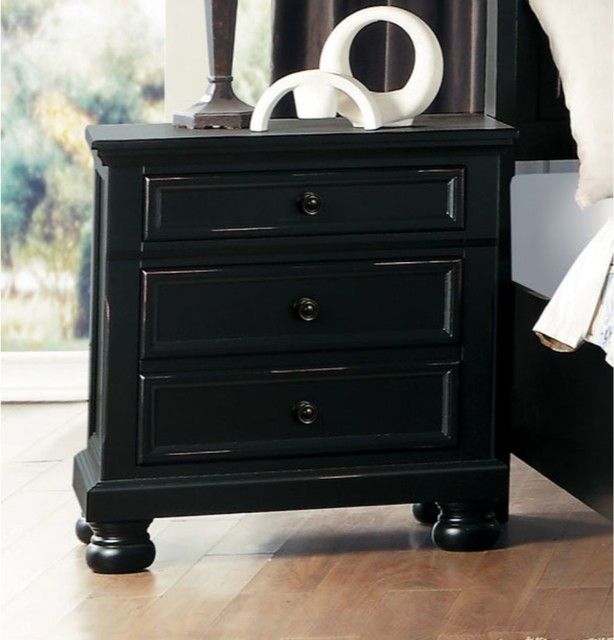 Black Benzara Wooden Nightstand with Two Drawers