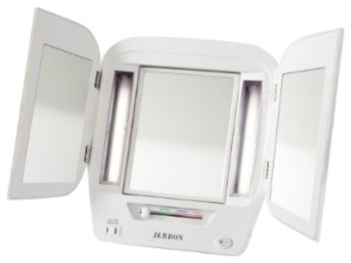 Jerdon Jgl10w Euro Tabletop Tri-Fold Two-Sided Lighted Makeup Mirror With 5x Mag.