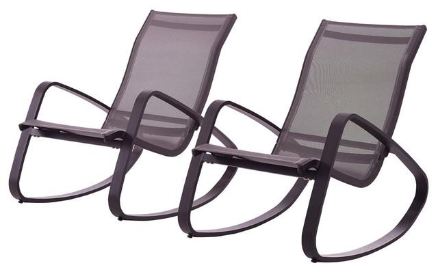 Modern Outdoor Lounge Chair Set, Set Of 2, Aluminum Metal Steel, Black