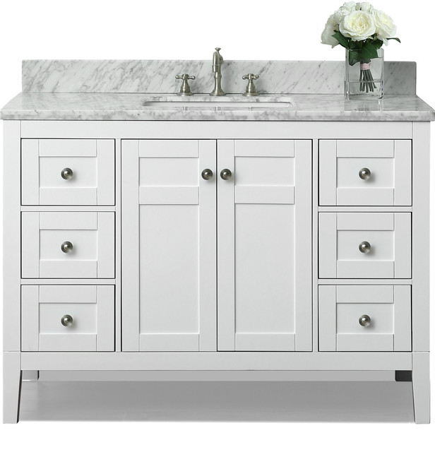 Maili Bath Vanity White 48 Transitional Bathroom Vanities And