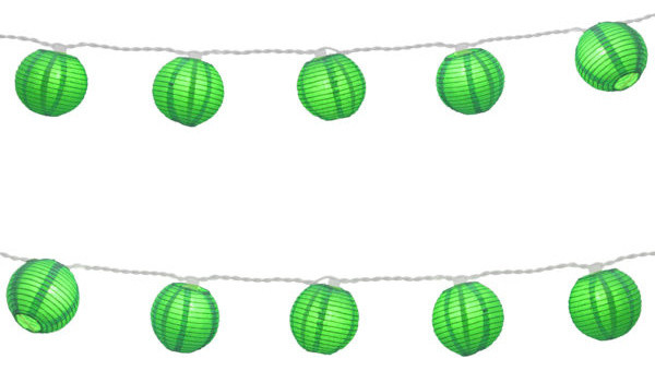 10-Light Lumabase Electric String Light Round Paper Lanterns Green.