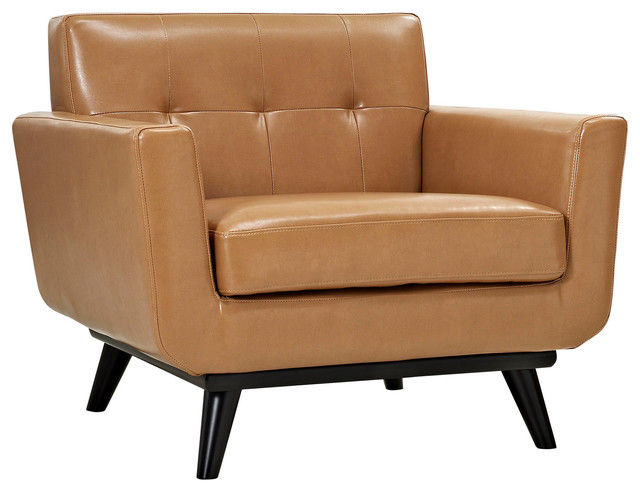 Modern Contemporary Leather Armchair Tan Leather Midcentury