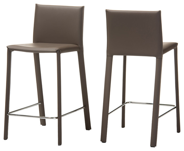reputable site 83fbd 8c204 Crawford Leather Upholstered Counter Height Stools, Taupe, Set of 2