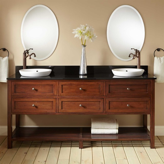 48 TAREN BAMBOO DOUBLE VANITY FOR SEMIRECESSED SINK LIGHT Impressive Bathroom Vanities Cincinnati