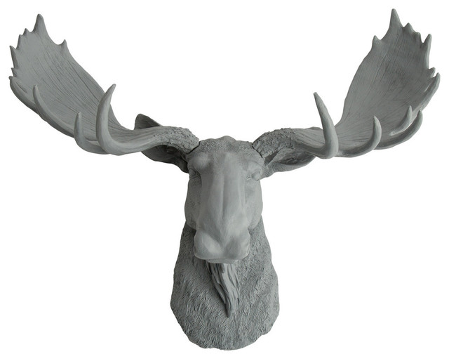 Faux moose head wall mount contemporary wall sculptures by white faux taxidermy - Fake moose head mount ...
