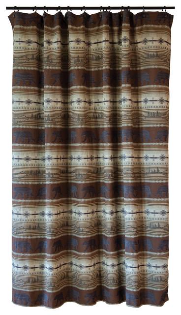 Rugged Earth Bear Rustic Cabin Shower Curtain