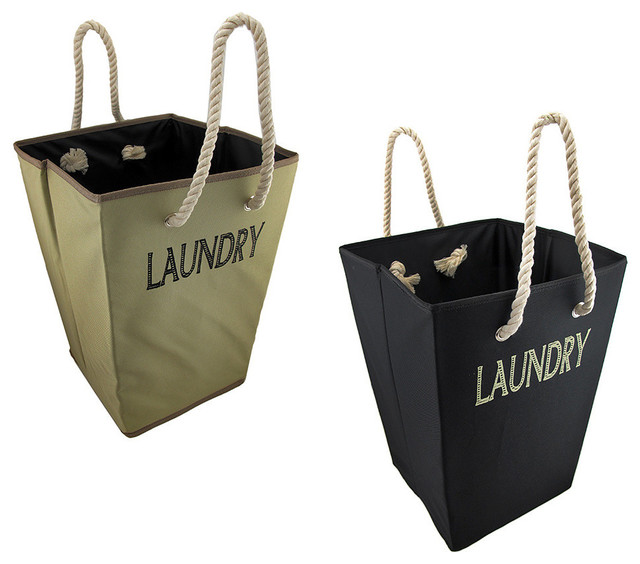 Modern Structured Laundry Bags W/rope Handles, 2-Piece Set.