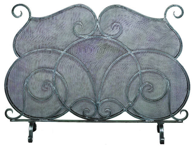 Deanery Mesh Fire Screen, Pewter.