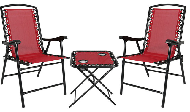 Terrific Sunnydaze Set Of 2 Red Outdoor Suspension Folding Patio Chairs With Side Table Bralicious Painted Fabric Chair Ideas Braliciousco