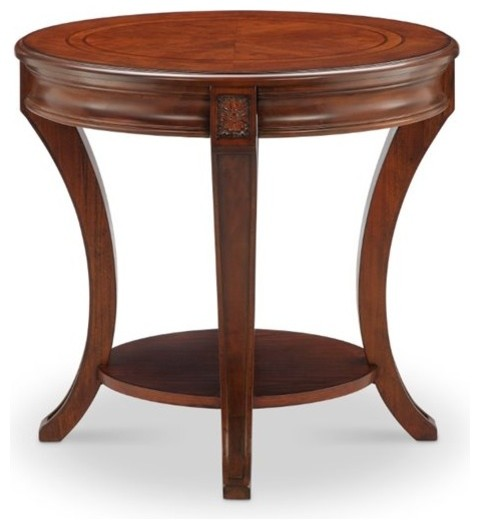 Magnussen Winslet Oval End Table, Cherry Transitional Side Tables And End