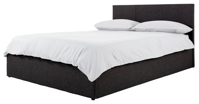Boston Fabric Bed, Black, Double