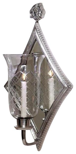 Contemporary Silver Wall Sconces : Diamond Mirrored Hurricane Sconce, Antique Silver - Contemporary - Wall Sconces - by DESSAU HOME