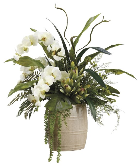Lifelike White Phalaenopsis Orchids With Staghorn Ferns Silk