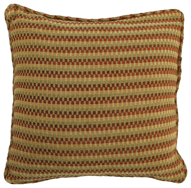 18-inch Square Jacquard Chenille Throw PIllow, Insert, Autumn Gingham - Decorative Pillows - by ...