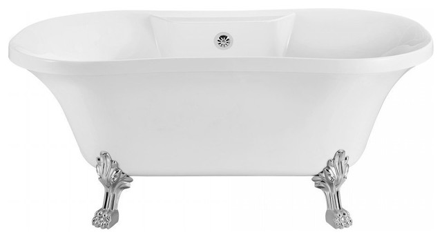 Streamline Soaking Clawfoot 60 Tub in White With External Drain Set by Streamline