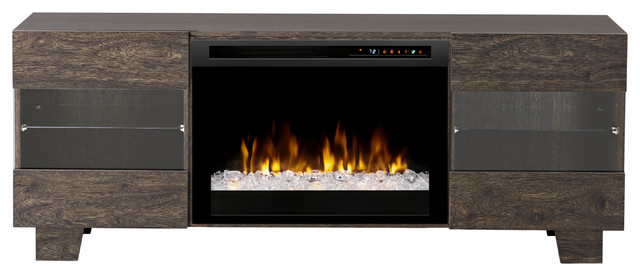 Max Media Console Electric Fireplace With Acrylic Ember Bed, Elm Brown.