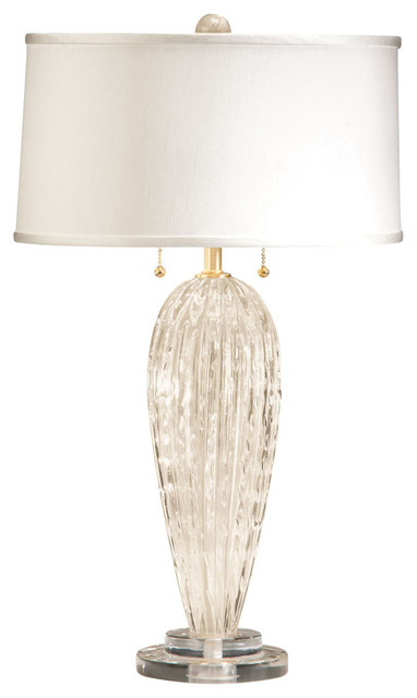 Venetian Glass Table Lamp White And Gold Contemporary Table