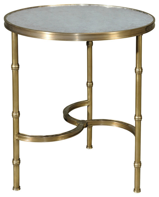 Modern Brass And Glass Top Round Side Table Traditional Side