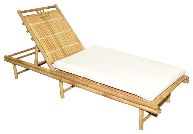 Shop houzz bamboo sunbed with cushion outdoor chaise for Asian chaise lounge