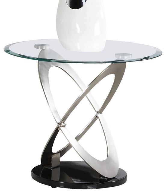 ebe1a0f7c442 Homelegance Firth Round Glass End Table in Chrome and Black Metal -  Traditional - Side Tables And End Tables - by Beyond Stores