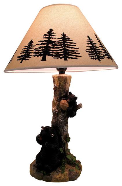 Rustic Black Bears A Honey Tree Table Lamp Rustic