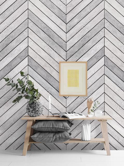 Chevron Grey White Wood Accent Mural Wall Art Wallpaper