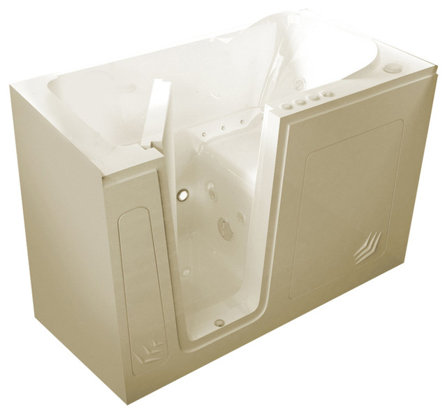 Meditub Walk-In 30 X 54 Left Drain Biscuit Whirlpool & Air Jetted Walk-In Tub.