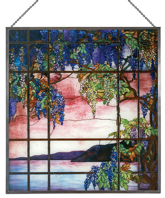 Tiffany Stained Glass Panel View Of Oyster Bay