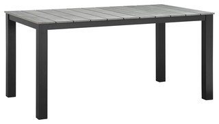 """Modway Maine 63"""" Outdoor Patio Dining Table, Brown, Gray"""