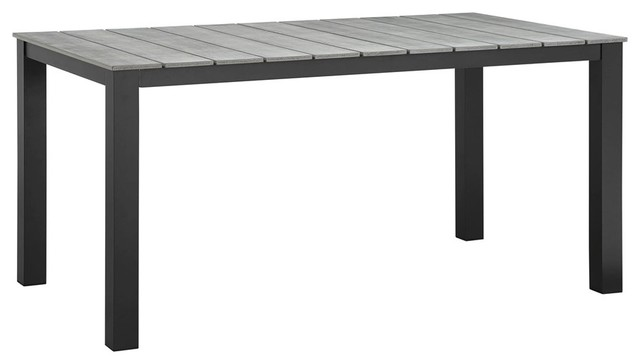 Maine 63 Outdoor Patio Dining Table Brown Gray.