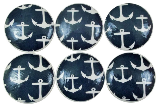 - Navy Nautical Anchor Knobs, 6-Piece Set - View in Your Room! | Houzz