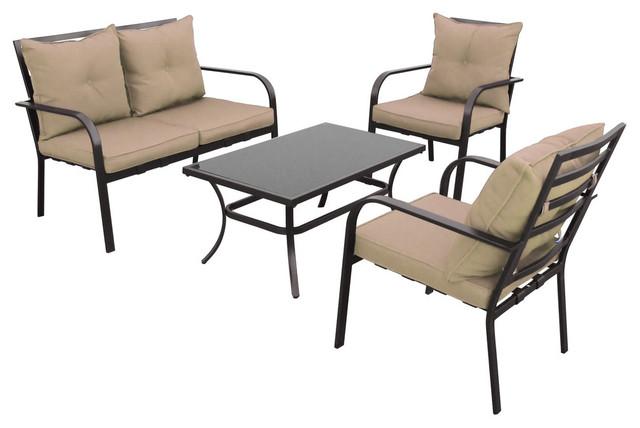sonax corliving patio conversation 4 set in black