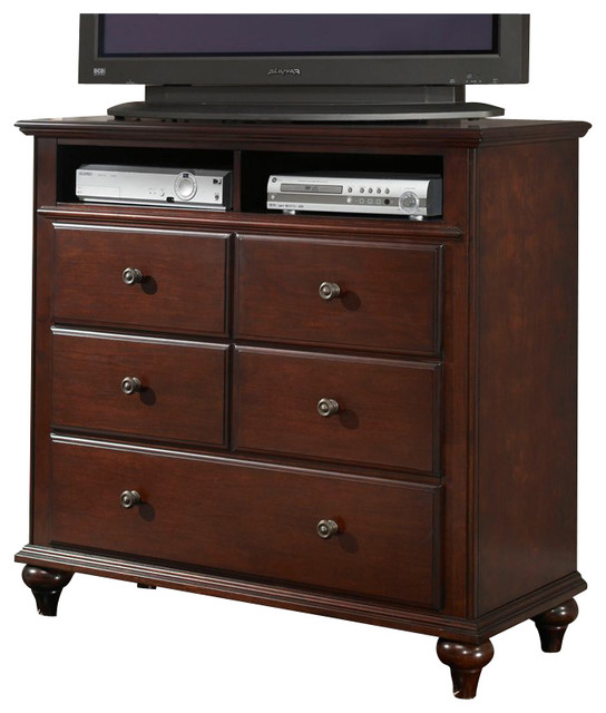 Broyhill Hayden Place 3 Drawer Media Chest In Rich Dark Cherry Transitional Dressers By Homesquare