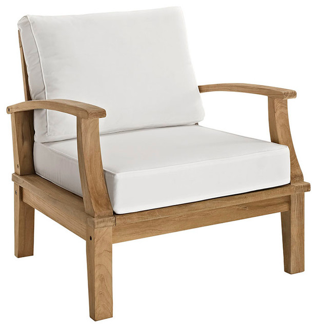 Modway   Marina Outdoor Patio Teak Armchair   Outdoor Lounge Chairs