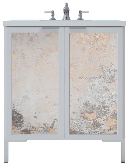 "Freestanding Bathroom Vanity, Antique Mirror Insert, 30"", White Gloss."