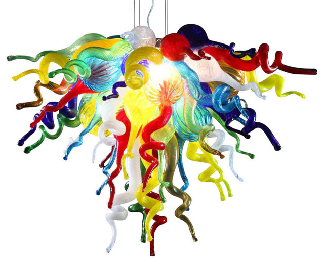 Multicolored chandeliers houzz viz glass inc chandelier multicolor small chandeliers mozeypictures Images