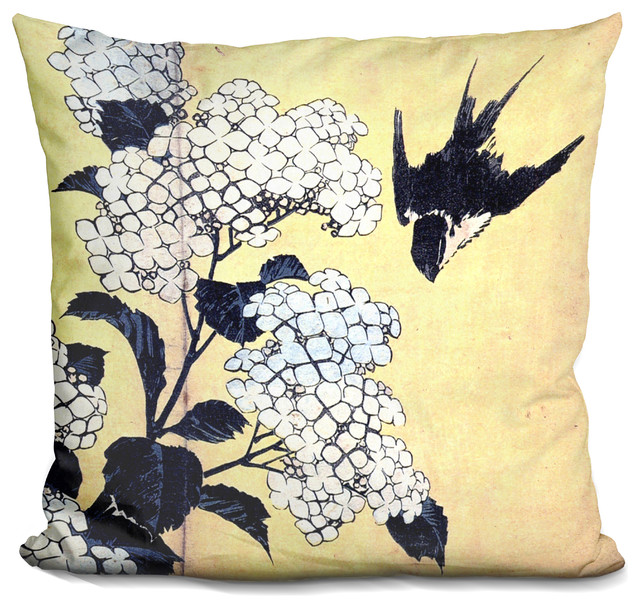 Hydrangea And Swallow Decorative Accent Throw Pillow Asian Magnificent Hydrangea Decorative Pillows