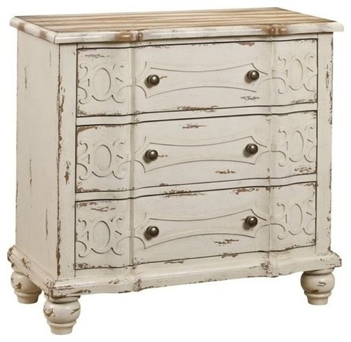 Bowery Hill 3-Drawer Chest, Weathered Cream