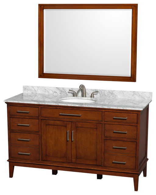 "Hatton 60"" Light Chestnut Single Vanity, White Carrera Marble Top And Oval Sink."