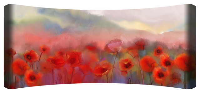 """poppies"" Hd Curved Steel Wall Art."