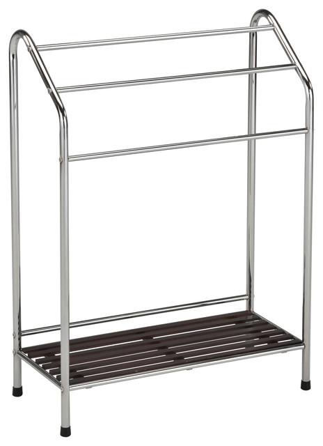 Chrome Metal Amp Walnut Wood 3 Bar Amp Shelf Free Standing