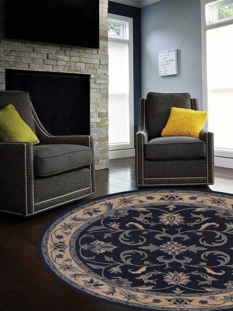 Miraculous Rugsotic Carpets Hand Tufted Woolen Oriental Round Area Rug Blue Beige 8X8 Interior Design Ideas Clesiryabchikinfo