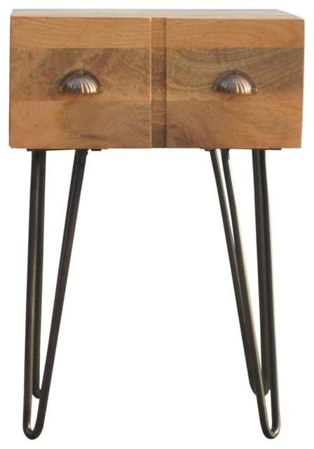 1-Drawer Bedside With Iron Base, Oak Finish Mango Wood/Pewter