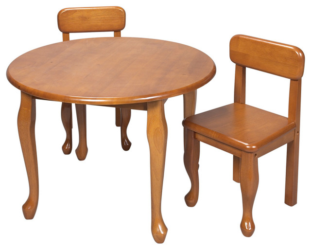 gift mark home kids queen anne round table and chair set honey kids - Kid Table And Chair Set