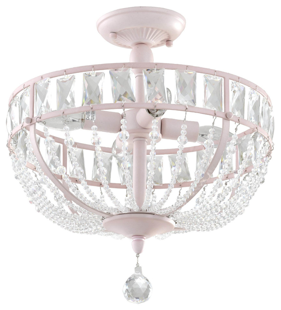 Audrey Pink Crystal Chandelier 4 Lights Contemporary Kids Ceiling Lighting By Firefly Kids Lighting