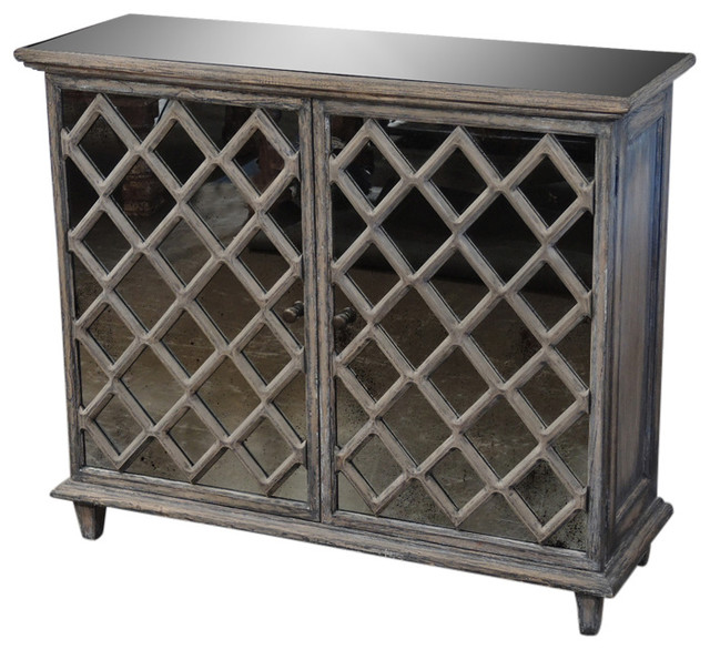 Wood And Glass Small Accent Cabinet