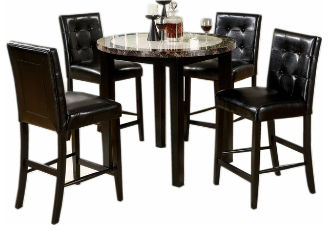 5 Piece Dining Set Round Faux Marble Table Top Black Leatherette Padded  Chairs Traditional